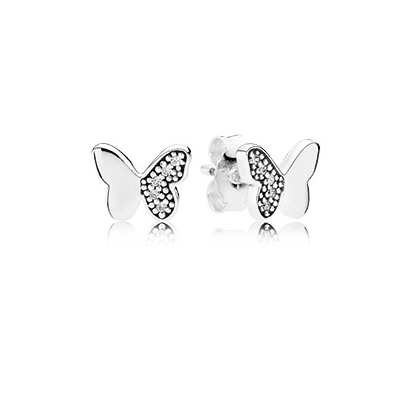 Butterfly silver stud earrings with clear cubic zirconia