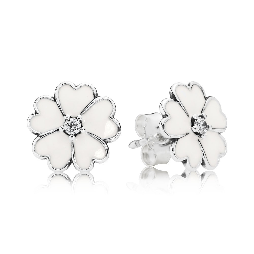 Primrose Silver Stud Earrings With Cubic Zirconia And White Enamel