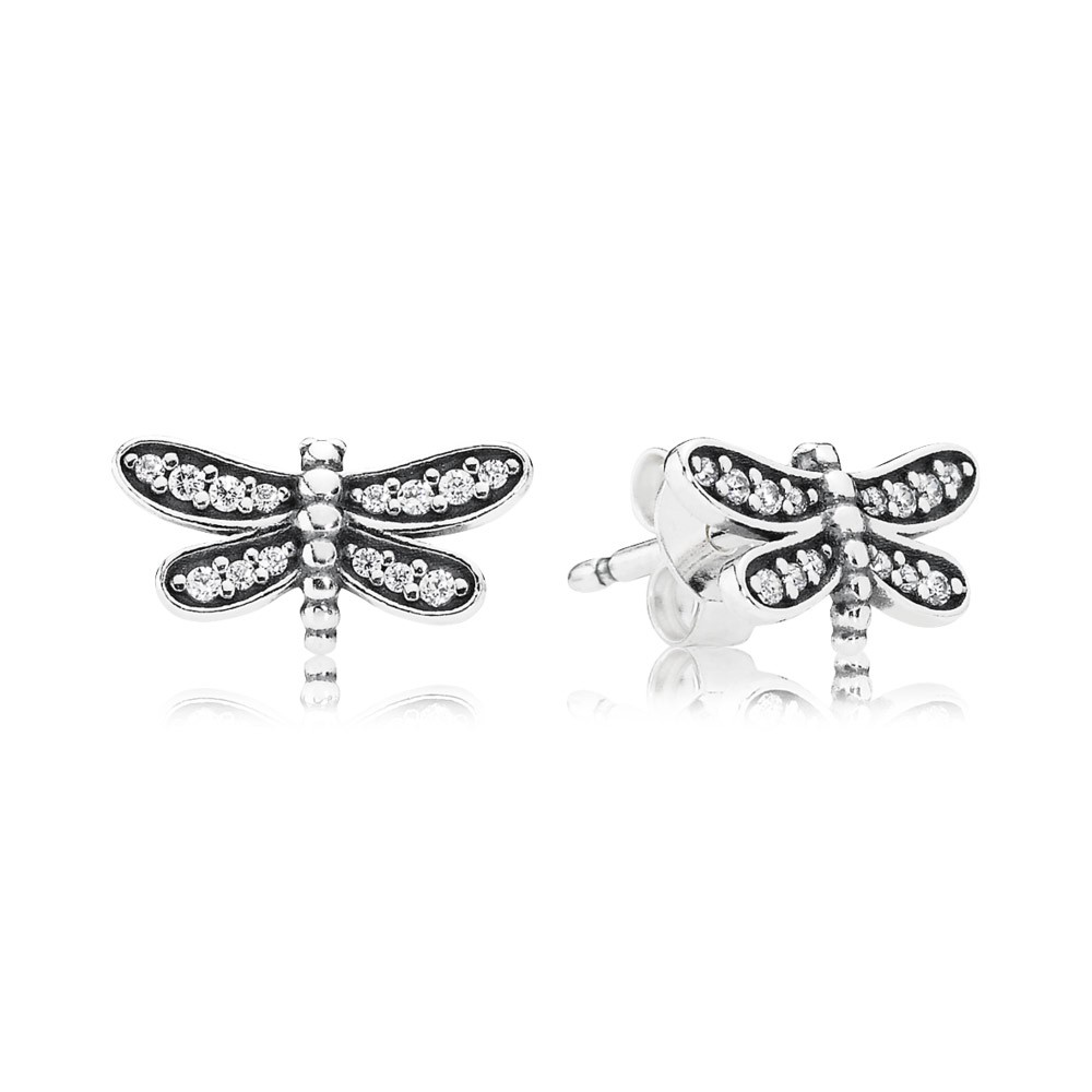 Dragonfly Silver Stud Earrings With Cubic Zirconia