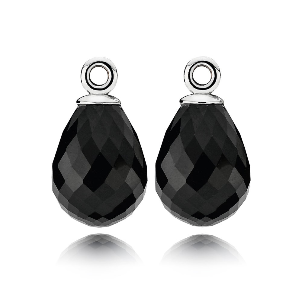 Pandora Earring Black Murano Glass