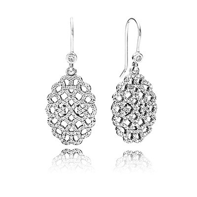 PANDORA Shimmering Lace with Clear CZ Dangle Earrings