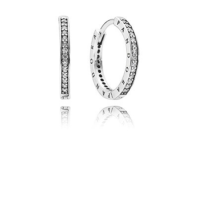 PANDORA PANDORA Signature with Clear CZ Hoop Earrings