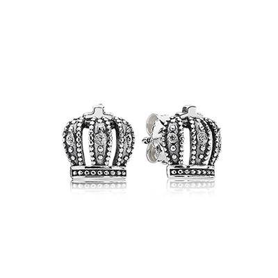 PANDORA Royal Crown with Clear CZ Stud Earrings