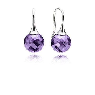 Pandora Earrings Morning dew, purple cz