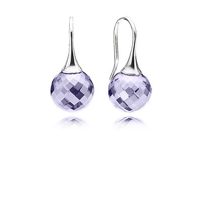 Pandora Earrings Morning dew, lavender cz