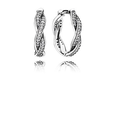 PANDORA Twist of Fate with Clear CZ Hoop Earrings