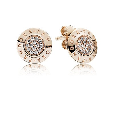 PANDORA Rose PANDORA Signature with Clear CZ Stud Earrings