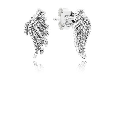 PANDORA Majestic Feathers with Clear CZ Stud Earrings