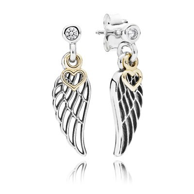 PANDORA Love & Guidance With 14K And Clear CZ Dangle Earrings