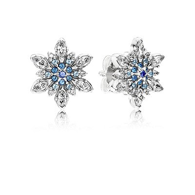 PANDORA Crystalized Snowflake With Blue Crystals & Clear CZ Earrings
