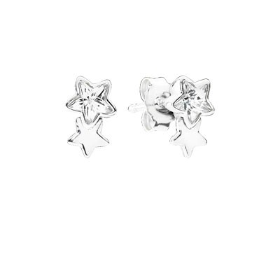 PANDORA Twin Star Silver Stud Earrings with Clear Cz