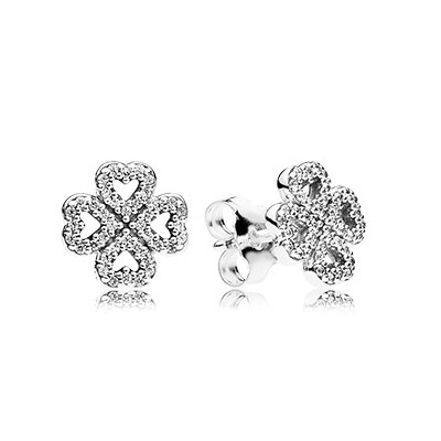 Heart clover silver stud earrings with clear cubic zirconia