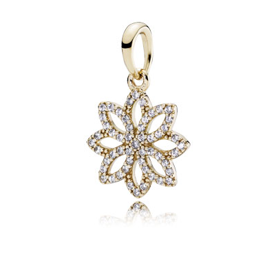 Floral pendant in 14k with clear cubic zirconia