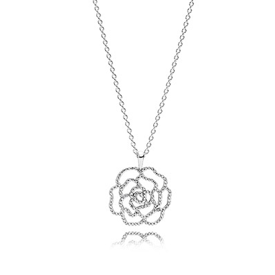 Rose silver pendant with cubic zirconia and necklace