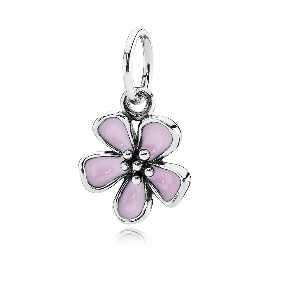Silver Pendant With Pink Enamel