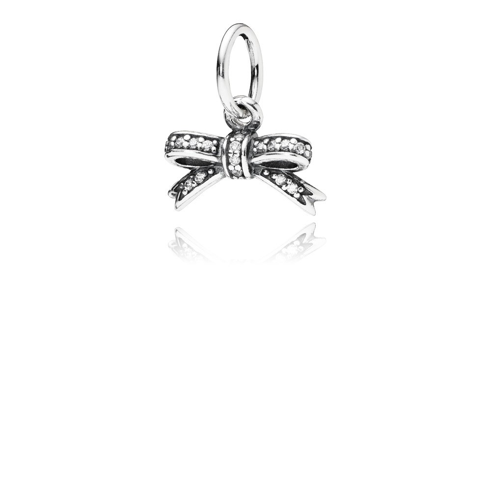 Bow Silver Pendant With Cubic Zirconia