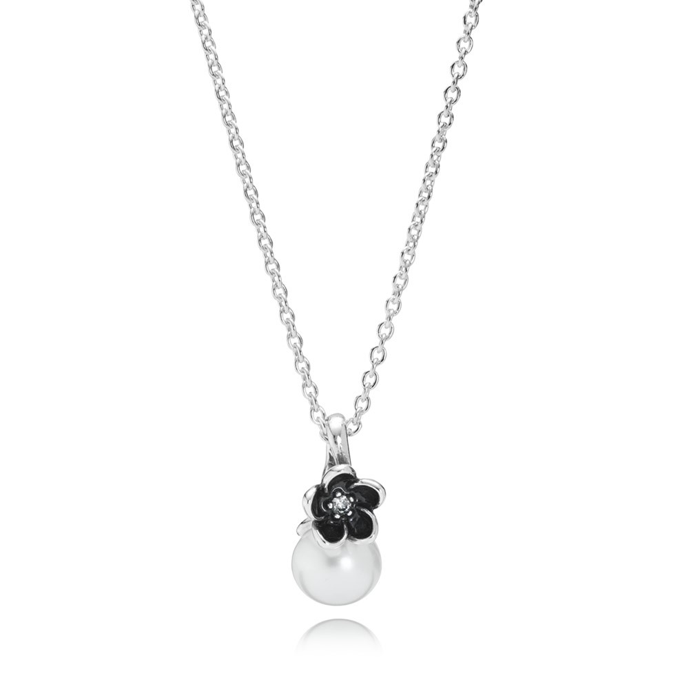Floral Silver Pendant With White Freshwater Cultured Pearl, Cubic Zirconia, Black Enamel And Necklace