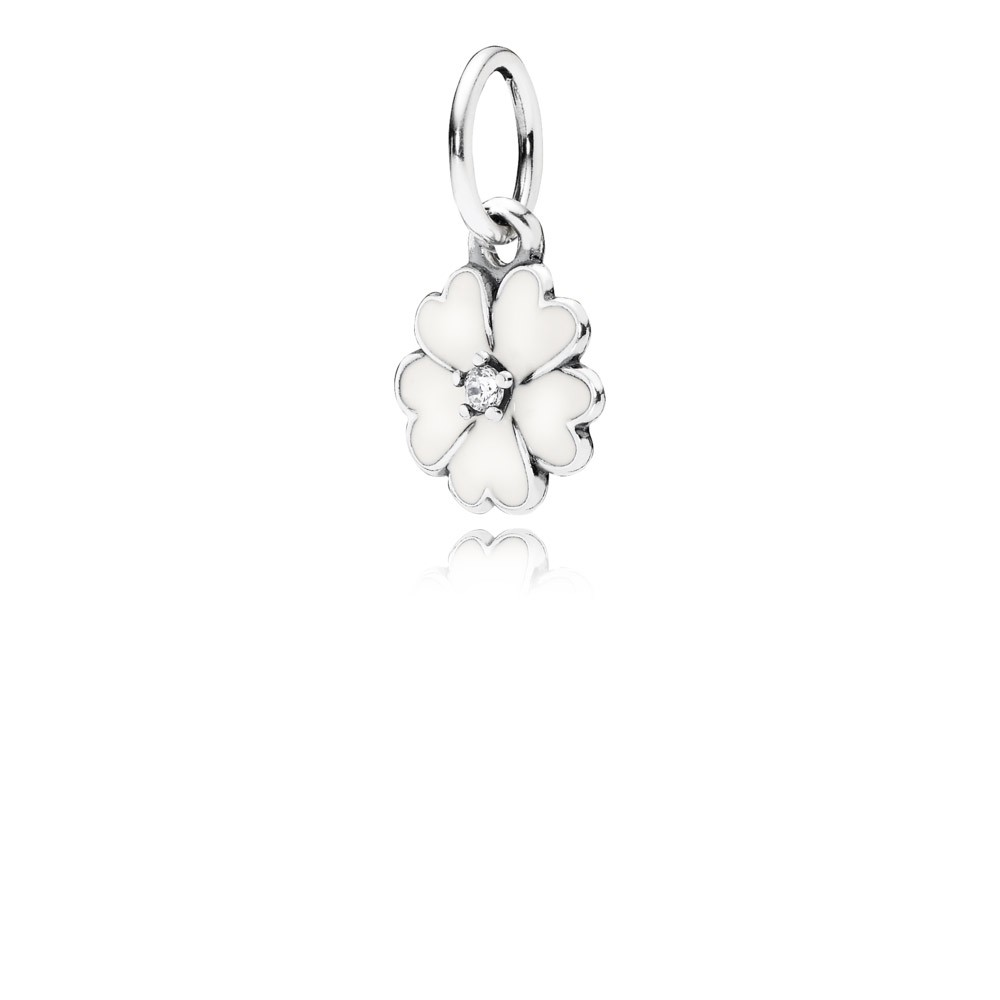 Primrose Silver Pendant With Cubic Zirconia And White Enamel