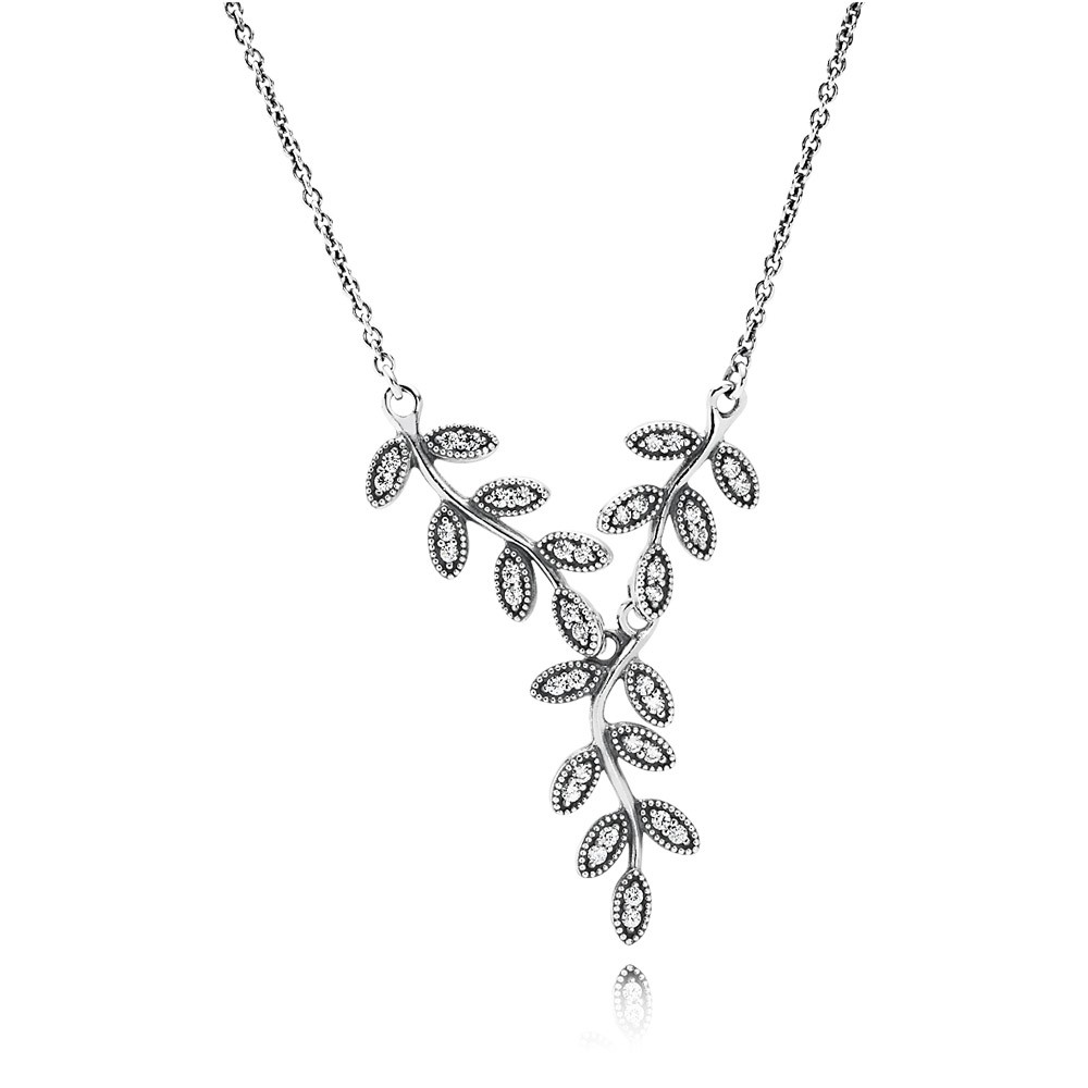 Leaves Silver Collier With Cubic Zirconia