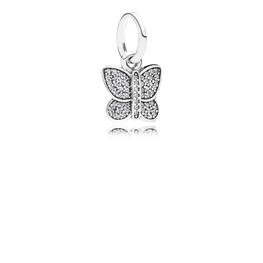 Butterfly Silver Dangle With Cubic Zirconia