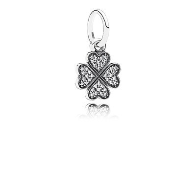 PANDORA Symbol of Lucky in Love Shamrock with Clear CZ Pendant