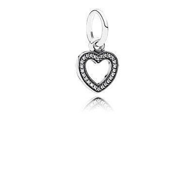 PANDORA Symbol of Love Heart with Clear CZ Pendant