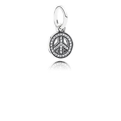 PANDORA Symbol of Peace with Clear CZ Pendant
