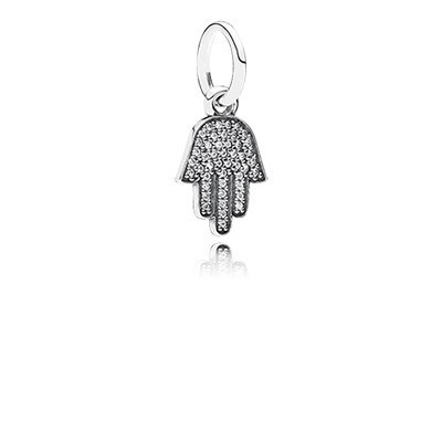 PANDORA Symbol of Protection Hamsa with Clear CZ Pendant