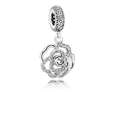 PANDORA Shimmering Rose with Clear CZ Dangle