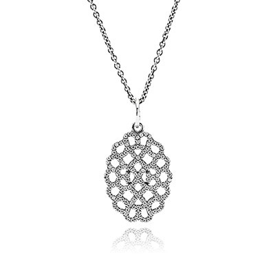 PANDORA Shimmering Lace with Clear CZ Necklace