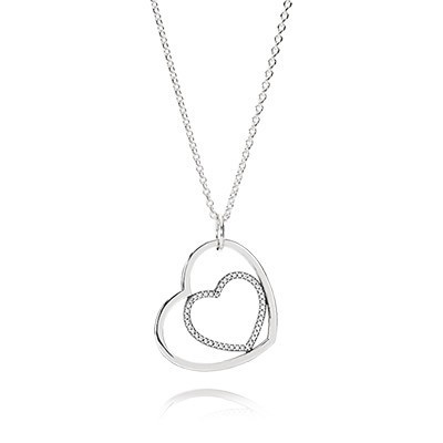 PANDORA Hearts silver pendant with cubic zirconia and necklace