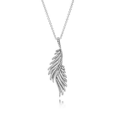 PANDORA Majestic Feathers with Clear CZ Necklace