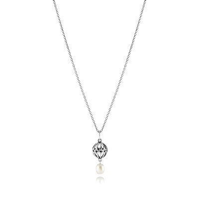 PANDORA Silver Necklace With White Pearl Pendant