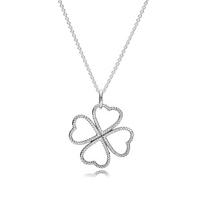 Heart clover silver pendant with clear cubic zirconia and necklace