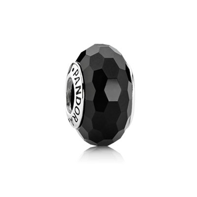 Black Faceted Glass Charm