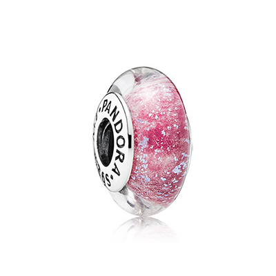 Disney Anna silver charm with pink fluorescent Murano glass