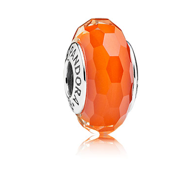 Abstract faceted silver charm with orange Murano glass