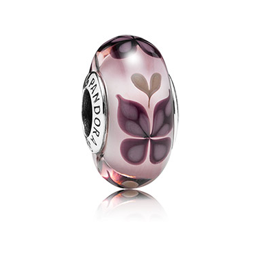 Butterfly silver charm with pink Murano glass