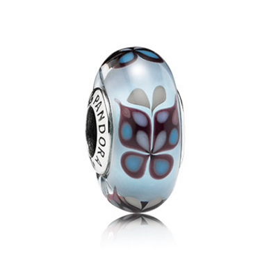 BUTTERFLY SILVER CHARM WITH LIGHT BLUE MURANO GLASS