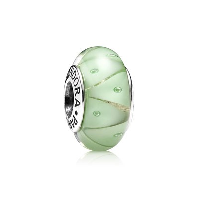 PANDORA Green Looking Glass Murano