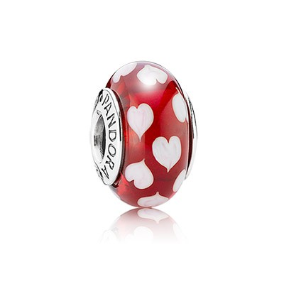 Pandora Red and White Heart Murano Charm