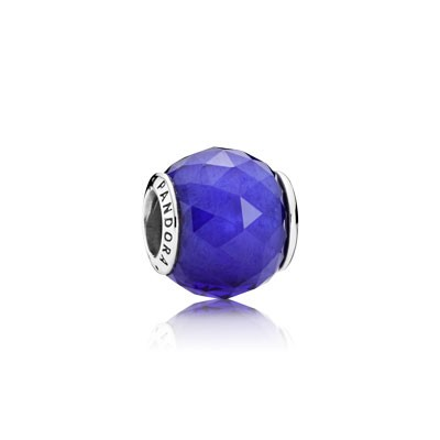 PANDORA Geometric Facets with Royal Blue Crystal Charm
