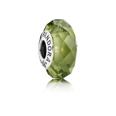 PANDORA Abstract silver charm with faceted light green crystal