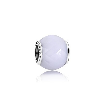 PANDORA Geometric Facets with Opalescent White Crystal Charm