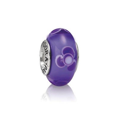 PANDORA Purple Flower Glass Charm