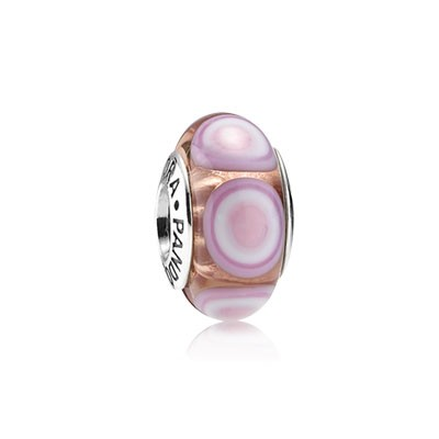 PANDORA Pink Glass Ripple Charm