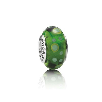 Pandora Murano Glass Beads Black with Green Dots
