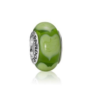 Pandora Murano Glass Beads Green Flowers