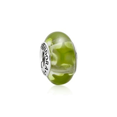 Pandora Murano Glass Beads Green with Green Star