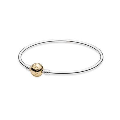 Silver bangle with 14k clasp